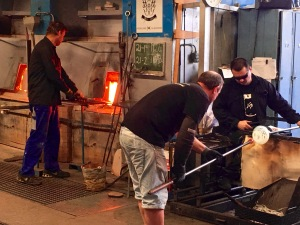About 30 glassblowers ply their skills across 6 workshops at Hadeland. They must work quickly in perfect unison to prevent the glass from growing cold.