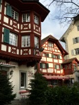 Standing in front of these adorable Swiss-chalet-style buildings, I have the urge to yell, Yodelayheehoo!