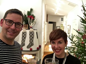 Our holiday tweet to family, with Corpse Revivers in hand.