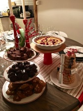 Yeah, I went a little overboard in the desserts department. From top to bottom, left to right: my mom's recipe for Peanut-butter Fudge, Cousin Jimmy's Bourbon Balls, my version of Pepperkaker, Martha Stewart's take on Pear-cranberry tart, and Norwegian Kransekake from Baker Hansen.