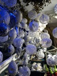 Love this all-white theme of hand-blown ornaments.