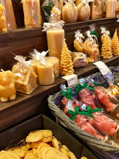 Who knew beeswax could be shaped into so many kinds of candles? You've even got your pink pigs for good luck in the coming new year.