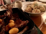 Spareribs, dumplings, and crispy potatoes -- Yummm!