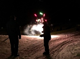 Setting off fireworks at the Felding-Hütte is a Preuhs family tradition.