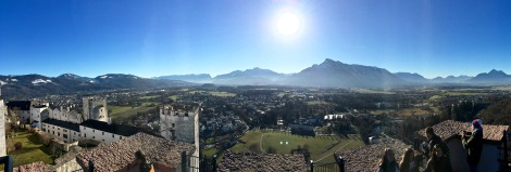 Salzburg's suburbs can be seen in the flat valley below, bordered by the 6,000-foot Untersberg massif of the Berchtesgaden Alps.