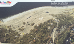 "An aerial of Mølen Beach gives you a good idea of the layout. Note the oldest mounds in amongst the scrubby trees furthest from the water. (The biggest ones are marked with an ""R."") As the land uplifted over millennia, the beach grew wider and folks added more burials closer to the water. (This geological activity is what helps archaeologists date the mounds.) Along the shore you can see a ship-shaped mound, a ""captain's"" mound and rows of ""sailor"" mounds."