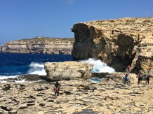 "Pictured is the gorgeous stretch of coastline where once stood the famous Azure Window -- an enormous natural arch featured most recently in ""Game of Thrones."" It collapsed during a storm in March of this year, a few weeks before we arrived. But there are plenty of other amazing grottoes and rock formations to explore in Malta, as you'll see in my upcoming posts."