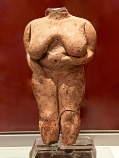 "In one of the Main Temple's first apses, archaeologists found this ""Venus de Malta."" Interestingly, most experts no longer think that fat women always represent pregnancy; these voluptuous ladies likely symbolized abundance and prosperity. (""Fat = health and wealth"" is a common theme throughout history.) By the way, the rich modeling of flesh shows that, despite their supposed Paleo diet, these people were intimately familiar with the realities of being overweight; obesity isn't theoretical to them."