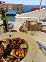The terrace bar offered a fabulous octopus salad and a nice cold glass of local Cisk beer -- yum!