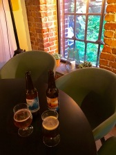 Inside offered a ringside seat at the waterfall and two beers from Ego Brewery, located in nearby Fredrikstad. Yum!