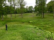 Notice all of the other much smaller mounds scattered around the landscape. I'm standing atop once of the biggest mounds -- from here you can see the ocean inlet that comes close to the Viking cemetery. Archaeologists have recently found evidence of a Viking harbor at this site.