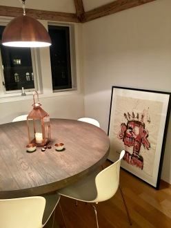 At home, our piece by Stian Borgen awaits a hook strong enough to support it, but I still think it looks awesome even sitting on the floor. His work has that same playful graffiti feel similar to Jean-Michele Basquiat's.