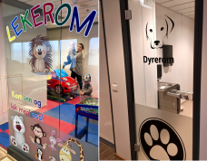 "Note the ""Lekerom"" (playroom) where kids can blow off steam, and the ""Dyrerom"" (Animal Room) for four legged friends who need a pit stop."