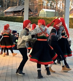 "Young ""nisser"" (elves) pair up at the Norwegian Folk Museum for some traditional holiday dances. Check out https://norskfolkemuseum.no/en/media-the-christmas-fair if you're interested in visiting."