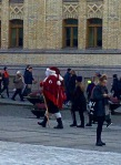 "This guy really committed to his holiday theme. He's dressed as a true, old-style, Norwegian Julenisse (Christmas elf), rather the the more modern ""Father Christmas"" character typically portrayed today. He was just cruisin' the streets of Oslo, greeting kids for the fun of it."