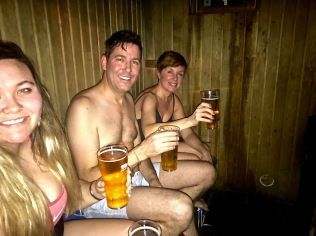 Chilly beer in the hot private sauna. Life just doesn't get any better than this.