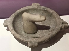 No it's not a pornographic ashtray giving the middle-finger salute. It's a mortar and pestle used to grind mineral pigments into powdered makeup -- not so different from today's products, right? The featured exhibition during our visit to the Museum of History and Archaeology highlighted the ancient art of personal grooming.