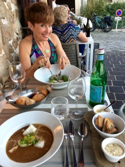You can see our terrace-side seating and my excitement over my meal. Matthew's having the bouillabaisse.