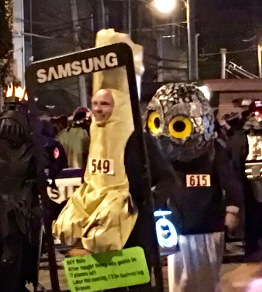 """Dick Pic"" won Funniest Costume. His text says, ""HEY babe. After tonight, there's only gonna be 7 planets left. Later this evening, I'll be destroying Uranus."""