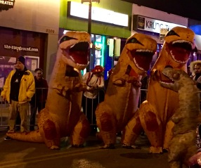 This year, inflatable dino costumes were everywhere. Watching them lumber along with a realistic gait was hilarious. But after a few minutes, the viewing window fogged up and I had to wonder how the contestants could see where they were going, much less breathe.