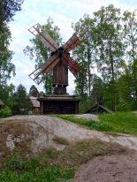 This sweet little 19th-century windmill comes from Punkalaidun. Looks a bit like an outhouse perching atop a log cabin, doesn't it?